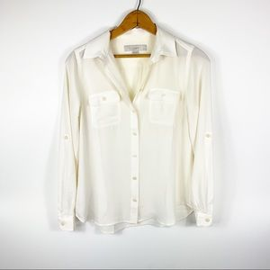 Loft Button Down Career Blouse White size XXSP